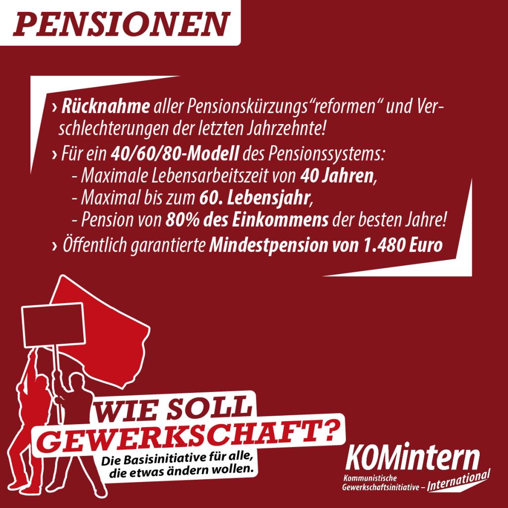 Wie Gewerkschaft - Pensionen